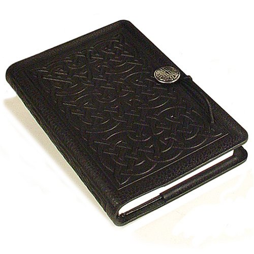 Celtic Knot American-Made Embossed Leather Writing Journal Cover in Black, 6 x 9-inch + Refillable Hard Bound Insert Book