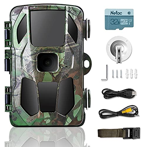 KINKA-Trail Camera for Hunting with Night Vision Waterproof, 20MP Scouting Camera for Outdoor Wildlife Monitoring (SD Card Included)
