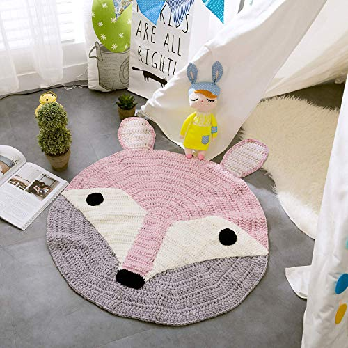 YuQiang Cartoon Animal Round Kids Rugs Knitted for Children Boys and Girls,Baby Crawling Play Mat Playroom Bedroom 32 inch Pink Fox