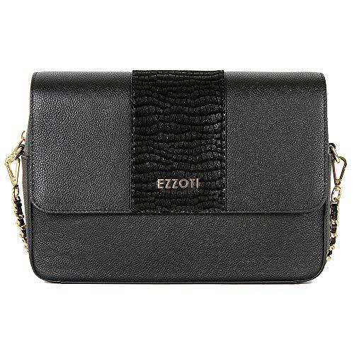 Nova Genuine Italian Leather Flip Top Leather Crossbody Bag Satchel Shoulder Handbag - Suede Pattern Effect