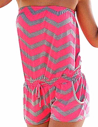 HAHAEMMA Emma Damen Strapless tr?gelos weg von der Schulter kurzer Overall Sexy Sommer Strand mit Druck Jumpsuits Rompers(RG,M)