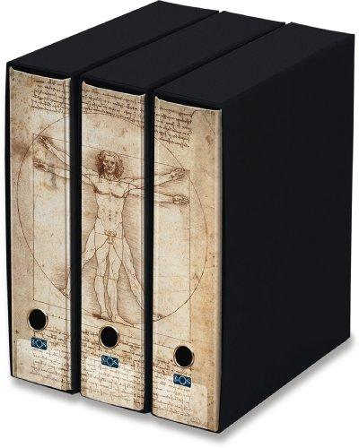 KAOS Ringbuch mit Schuber - 3er Packung - Format A4-2 Ringe - Rückenbreite 8 cm -Bild: VITRUVIANISCHER MENCH, LEONARDO DA VINCI - Packung-Größe: 26.8x35x29 cm