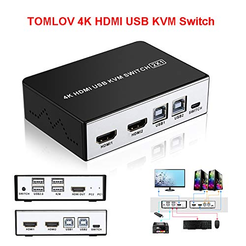 Riiai 4K HDMI KVM Switch 2 Port HDMI KVM Selector Switch for 2 Computer Sharing 1 HD Monitor and 4 USB Devices, with Desktop Button Switch 2 PC Sharing Keyboard and Mouse