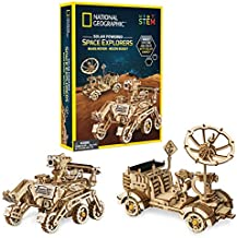 NATIONAL GEOGRAPHIC Solar Model Kit – Build 2 Solar Powered Wooden 3D Puzzle Models of Real NASA Space Explorers, Craft Kits are a Perfect Gift for Girls and Boys, an AMAZON EXCLUSIVE Science Kit