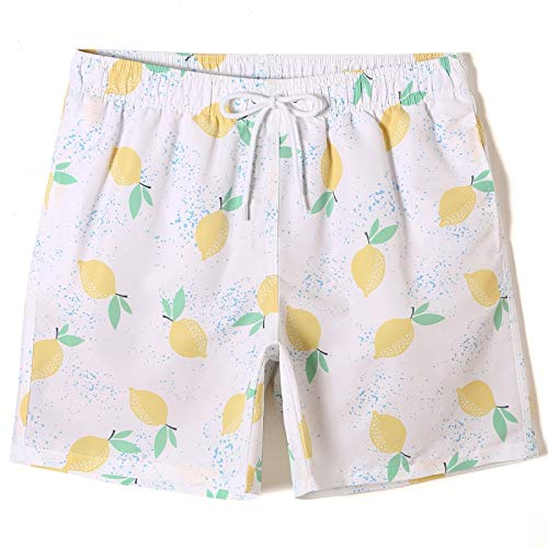 XUANYA Pantalones Cortos De Hombre,Varonil Playa Limón Patrón Shorts Tabla Baúles Bañadores Trajes De Baño Trajes De Baño De Secado Rápido Plus Tamaño Short Bottoms,XXL