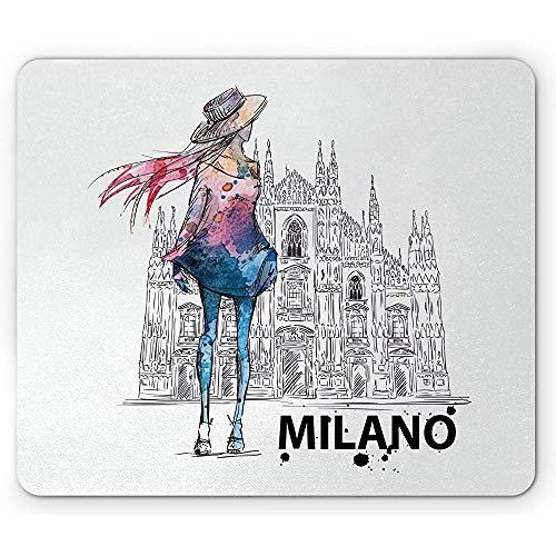 Fashion Mouse Pad Mädchen mit modischer Kleidung im Rückblick auf Milano Duomo Image Style Print Rutschfestes Gummi-Mousepad
