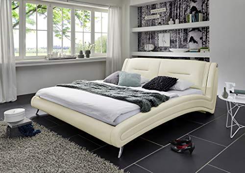 SAM Polsterbett 200 x 200 cm Swing, Kunstleder Creme, pflegeleichtes Bett, gepolsterte Rückenlehne