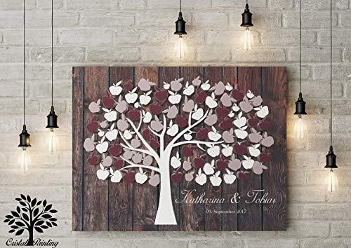 Hochzeitsbaum Hochzeitsgeschenk für Brautpaar, Hochzeit Gästebuch, Wedding Tree Alternative Gästebuch, 3D Effekt Apfelbaum Hochzeitsgästebuch für Fingerabdruck und Unterschrift 70x50 cm