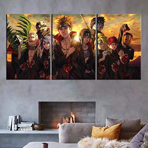 IOIP Naruto Anime Akatsuki Bilder 150x70 cm 3 Teilig Leinwandbilder Bild auf Leinwand Vlies Wandbild Kunstdruck Wohnzimmer Wanddekoration Art