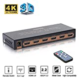 HDMI Switch, REEXBON 4K@60Hz Splitter HDMI, 5 In 1 out HDMI Switcher Conmutador con Soporte Remoto IR HDCP 2.2, UHD, HDR, Full HD / 3D