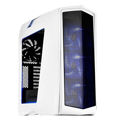 SilverStone SST-PM01WA-W - Primera ATX Gaming Tower Gehäuse, hochleistungsfähiges Kühlsystem, mit Fenster und blau-roten LED, weiss