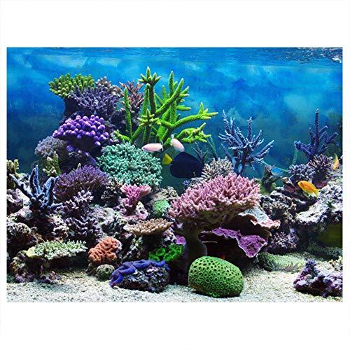 Cartel de Fondo de pecera de Acuario Adhesivo de PVC, Papel Tapiz de Paisaje, Pegatina de Pintura, decoración de Coral submarina(91 * 41cm)