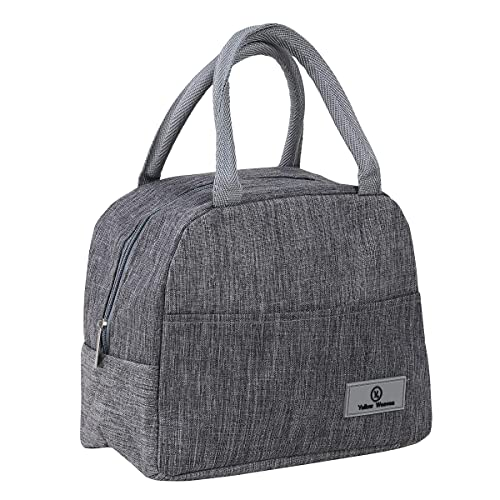 Yellow Weaves Canvas Cloth Insulated Travel Lunch/Tiffin/Storage Bag for Office, College & School (Grey, Big Size)