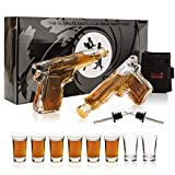 ShotsClub Glass Gun Decanter Set with Glasses – 2 x 7oz Pistol Decanter for Men, 8 x 1.5oz Shot Glasses, 1 x Dual Holster & 2 x Pourer - Fun Whiskey Sets for Men - Bourbon Tequila (Protective Box)