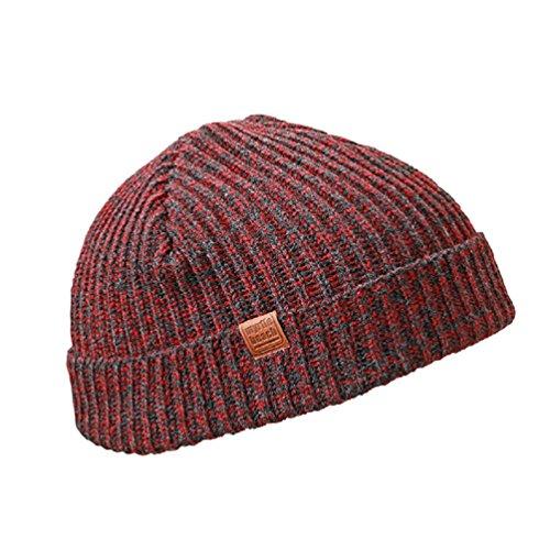 Trawler-Beaniemütze von MB, städtische Wollmütze in 4 warmen Farben Gr. One size, Dark-red/black-melange