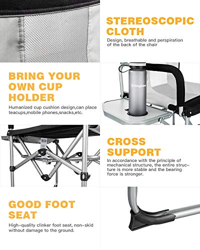 KingCamp Heavy Duty Compact Camping Folding Mesh Chair with Side Table and Handle