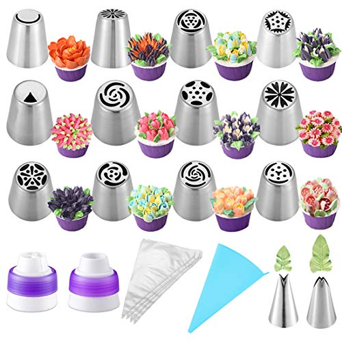 Russian Piping Tips Cake Decoration Baking Supplies Set 27pcs Cake Decorating Tips for Cupcake Cookies Birthday Party with 12 Icing Tips 2 Leaf Piping Tips 2 Couplers 10 Pastry Baking Bags