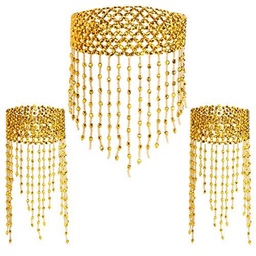 Coucoland 1920s Halskette Armband Acessoires Set Damen Exotisch Cleopatra Kostüm Zubehör Set Accessoires 20er Jahre Bauchtanz Blinkendes Kette Armband Fasching Kostüm Accessoires (Gold)