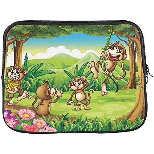 Illustratie van apen spelen in het bos mouw zachte laptop tas tas tas