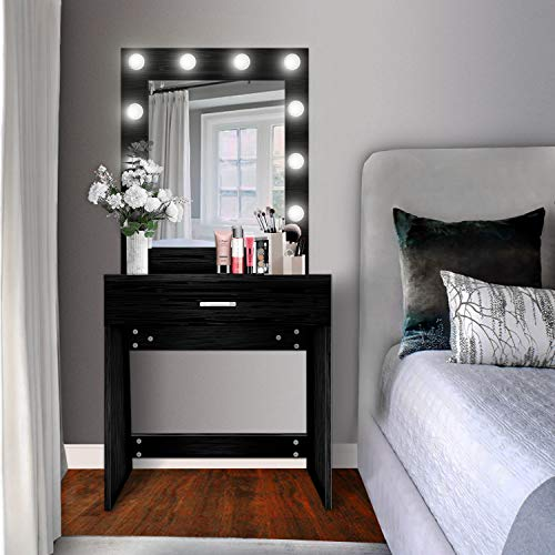US Shipping Vanity Set with Lighted Mirror, YEEGO Makeup Vanity Dressing Table Dresser Writing Desk with Drawer for Bedroom Easy Assembly, Black(10PCS Cool LED Bulbs)