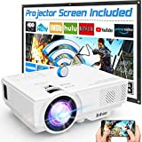 Wifi Projector, Projector 6000 Lumen With Projector Screen, 1080P Full HD Supported Wireless Projector, Mini Video Projector Compatible with Smartphone Tablet TV Stick HDMI VGA USB for Home Theater.