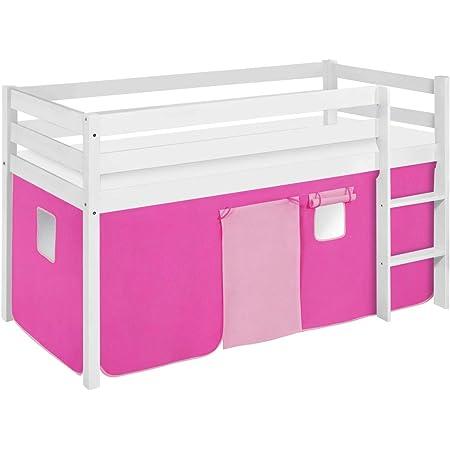 Lilokids Lit Mezzanine JELLE Rose-Rose -lit d'enfant Blanc - avec Rideau - lit 90x190 cm