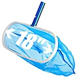 Sabuy 18 Inch Heavy Duty Deep-Bag Swimming Pool Leaf Net Skimmer Rake with Nylon Medium Fine Mesh for Cleaning Swimming Pools, Hot Tubs, Spas and Fountains, Blue