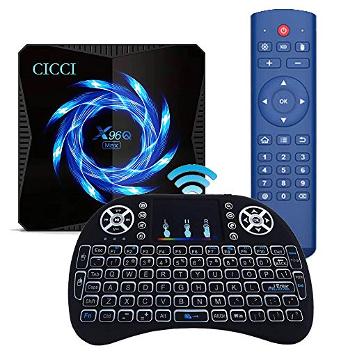 Android 10.0 TV-Box, X96Q Max 4GB RAM 64GB ROM 2021 Aufgerüstet mit Mini Wireless Keyboard Allwinner H616 2,4 G / 5,8 G Dual WiFi Bluetooth 5.0 4K 6K Media Player Android TV Box X96 Set-Top-Box