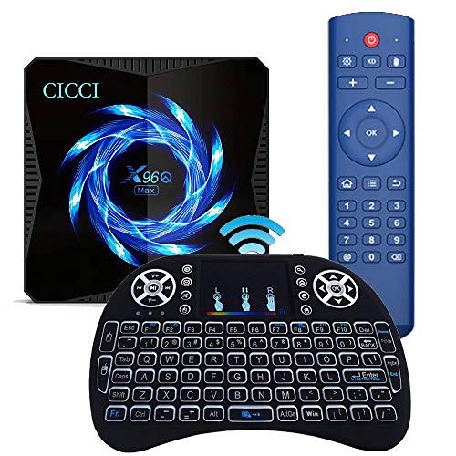 Android 10.0 TV-Box, X96Q Max 2021 Aufgerüstet mit Mini Wireless Keyboard Allwinner H616 4 GB 64 GB 2,4 G / 5,8 G Dual WiFi Bluetooth 5.0 4K 6K Media Player Android TV Box X96 Set-Top-Box
