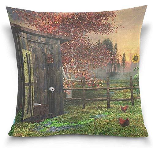 Hermoso Outhouse Landscape Cotton Velvet Square Throw Pillow Case Funda de cojín para sofá Cama Silla
