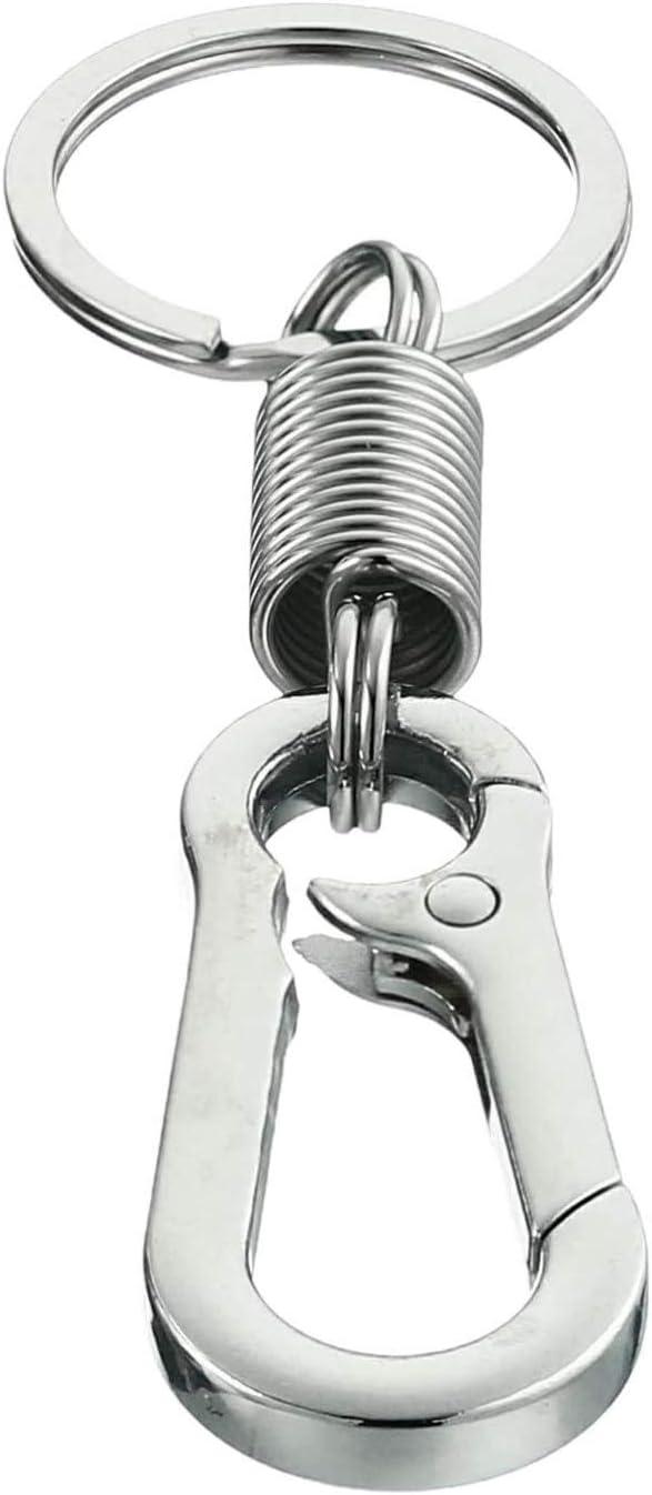 GT////Rotors Carabiner Keychain Ring Keyring Retro Spring Key Chain Holder 5 Pack, Chrome Silver