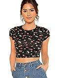 SweatyRocks Women's Basic Short Sleeve Scoop Neck Floral Print Crop Top Multicolored S