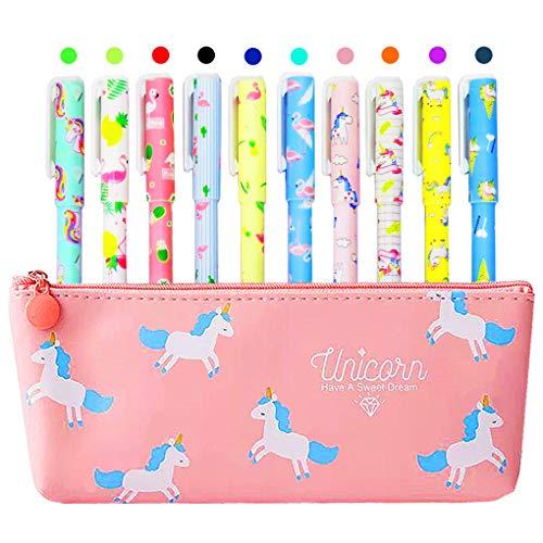 Unicorn Pencil Case with 10 Pcs Colorful Unicorn and Flamingo Pens for...