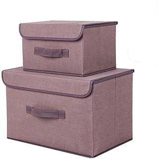 Boîte de rangement avec boîtes de couvercle Panier de stockage avec boîte de rangement couvercle avec carton de couvercle-...