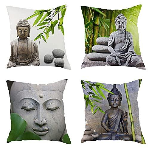 Funda de cojín, diseño de Buda Zen Estatua de Bambú, para el sofá del coche, decoración del hogar, 45 x 45 cm
