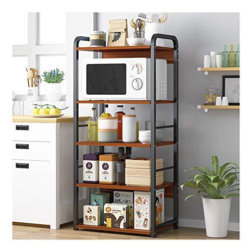Estante de almacenamiento multifuncional para cocina, estante de almacenamiento, estantería de cocina, estanterías de almacenamiento, unidades de estantes para cocina, carrito de cocina, horno microondas, estante de almacenamiento creativo StyleName A marrón