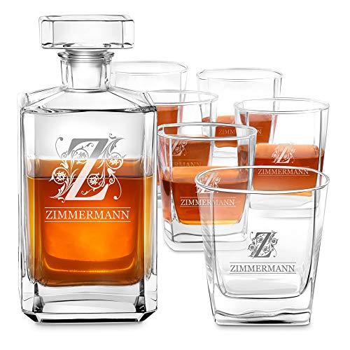 Murrano Whiskey Karaffe + 6er Whiskygläser Set mit Gravur - 700ml Whisky Dekanter - Geschenk zum Geburtstag für Damen - Buchstabe