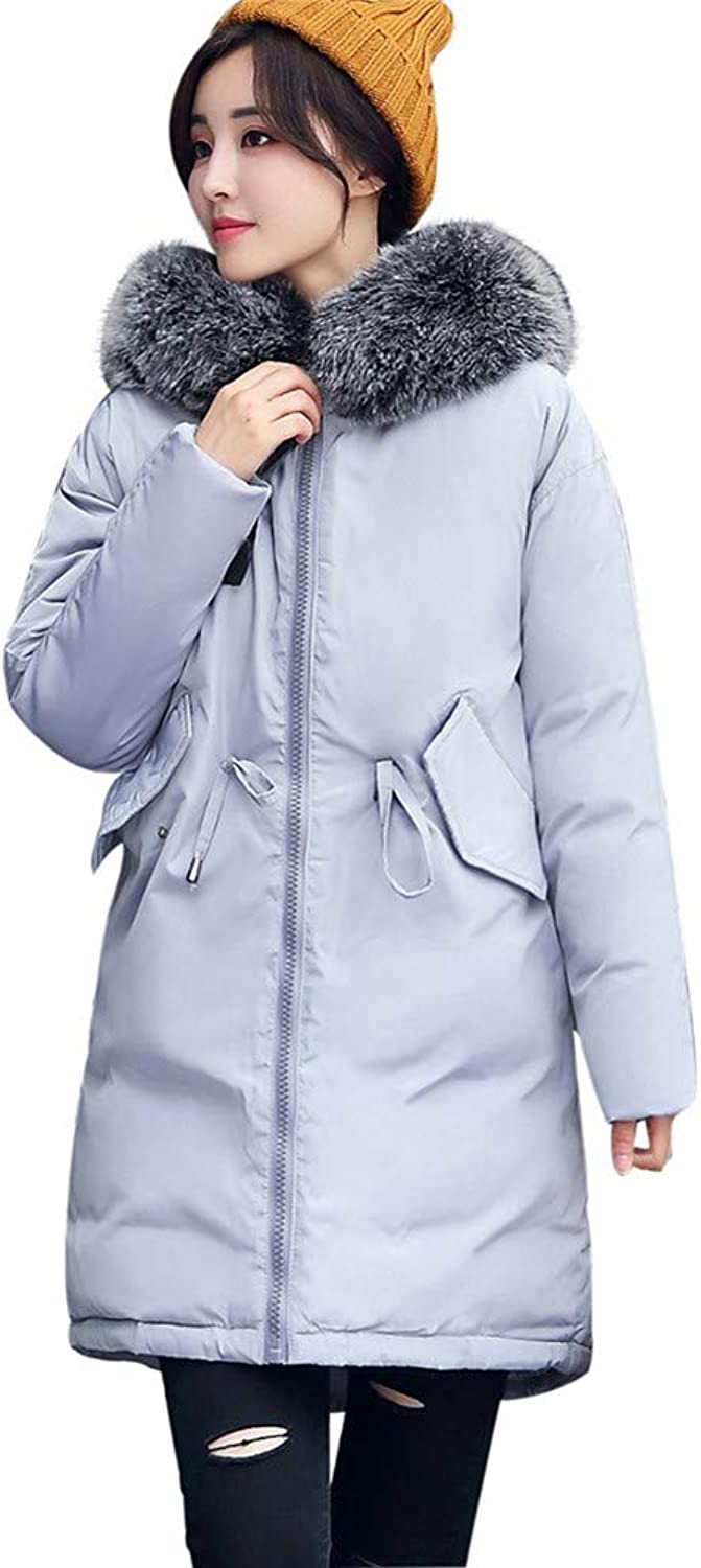 BETTERUU Women Long Sleeve Outerwear CottonPadded Jackets Pocket Hooded Long Coats