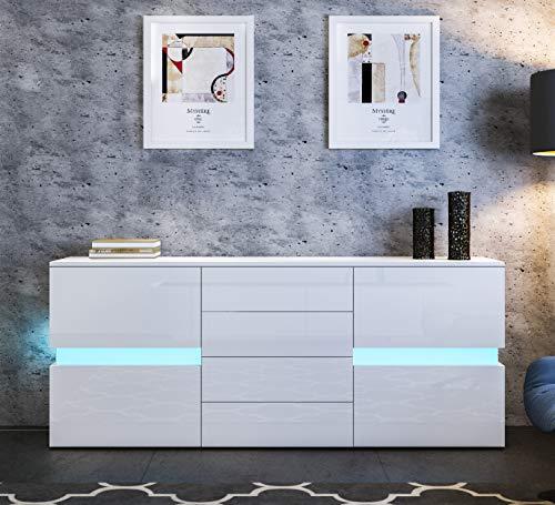 UNDRANDED Sideboard Kommode Hochglanz Front mit 2 Türen 4 Schubladen RGB LED Beleuchtung für Wohnzimmer 177 x 35 x 72 cm (Weiß)