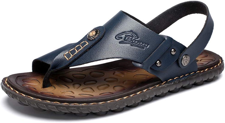 Sandal Men Split Leather Genuine Beach Slippers Summer shoes Non-Slip Flip Flops,bluee,47