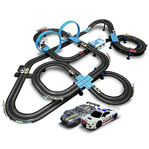 AEDWQ Kids Toy-Electric Powered Slot Car Race Track Set High Speed Electric Super Loop Speedway Slot Car with Two Cars for Dual Racing Boy Girl Best Gifts(1/64) (Color : 15M, Size : Electric)