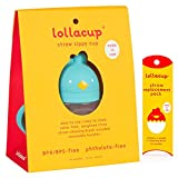 Lollaland Weighted Straw Sippy Cup for Baby: Lollacup - Transition Kids, Infant & Toddler Sippy Cup (6 months - 9 months) | Shark Tank Products | Lollacup (Turquoise) w/Straw Replacement Pack