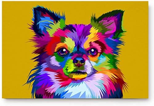 Bernice Winifred Felpudo absorbente y duradero, antideslizante, para entrada en interiores, con diseño de animales de Chihuahua, lavable, impermeable, 40 x 60 cm