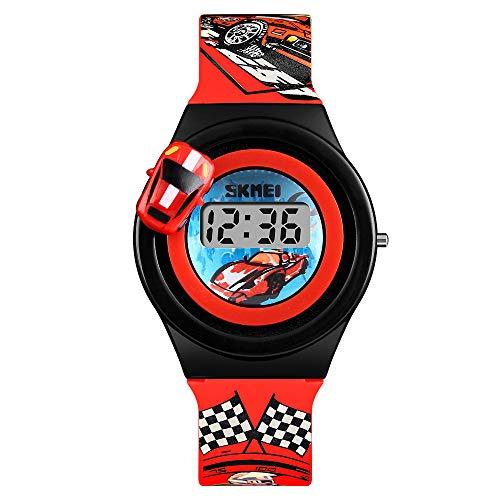 ファッショナブルな回転車の子供の男の子と女の子の創造的なかわいい小さなおもちゃの電子時計(さまざまなスタイル) (赤)
