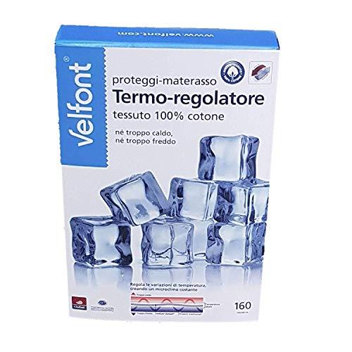 Velfont Protector de colchón con esquinas termorreguladoras de tejido Outlast de 100% algodón, plaza y media francesa 140 x 200 cm