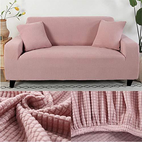 Sofabezug Rosa Stretch Couch überzug Universal-Sofabezüge Wohnzimmer Jacquard Spandex Möbelschutz Hunde Haustierfreundliche Couch Schonbezug (235-310cm)