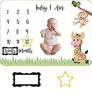 Manta Mensual De Hito Para Bebé Manta Milestone para Recién Nacidos Manta Mes para Fotos Manta Fondo Fotográfico Regalos…