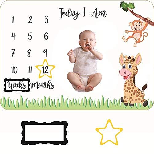 Manta Mensual De Hito Para Bebé Manta Milestone para Recién Nacidos Manta Mes para Fotos Manta Fondo Fotográfico Regalos Personalizados para Futuras Mamás Suave Gruesa Grande, 100 x 140cm