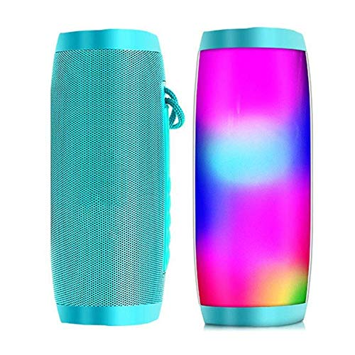 Dpliu Altavoz Bluetooth Altavoces portátiles Columna Bluetooth Altavoz Bluetooth inalámbrico Potente Alto Boombox Alto Bass HiFi TF FM Radio con luz LED (Color: Verde con luz)