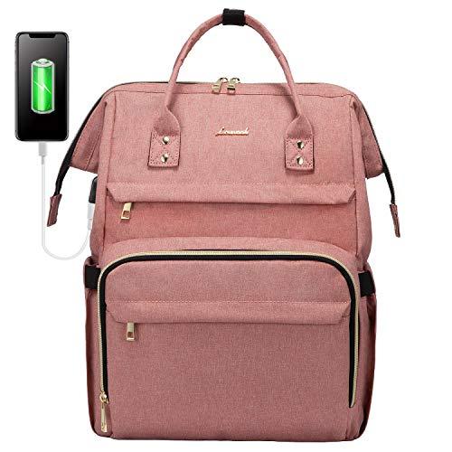 LOVEVOOK Damenrucksack für 17 Zoll Laptop, wasserdichte Schulrucksack Schultasche, Stylischer Rucksäcke mit USB Ladeanschluss für Schule Uni Bisiness Reise Rosa